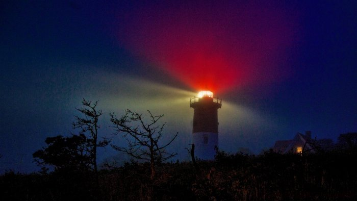 Nauset Light in Fog